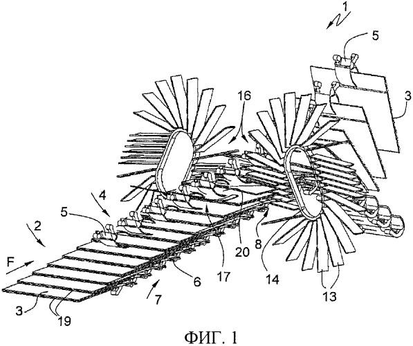 Способ передачи печатной продукции, перемещаемой поточным методом раздельно или с наложением, на транспортер с оборачивающимися зажимами