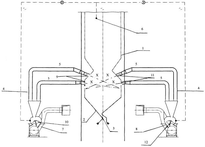Способ регулирования температуры газов на выходе из камеры сгорания вихревой топки и вихревая топка