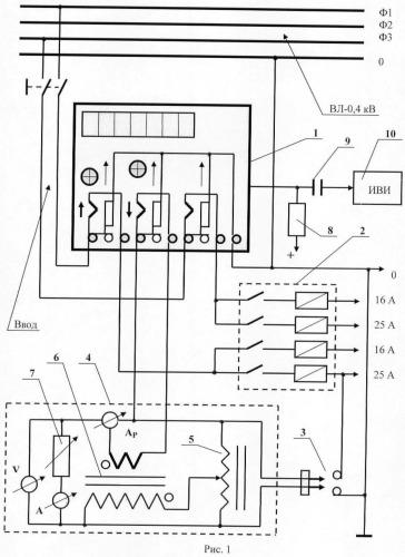 Схема контроля чувствительности трехфазных электронных приборов учета электроэнергии
