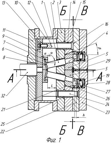 Многогнездная стационарная пресс-форма с горизонтальным и вертикальным разъемами для литья под давлением