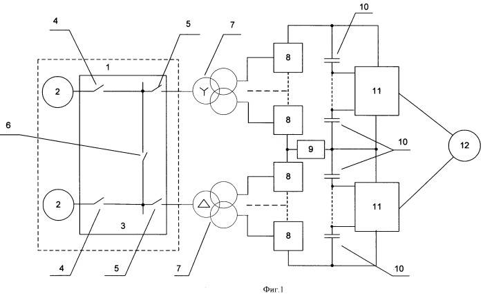 Гребная электрическая установка с многоуровневыми преобразователями частоты
