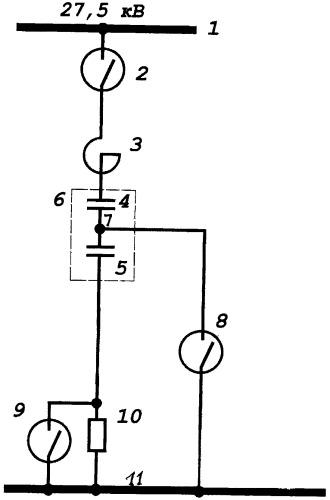 Устройство переключаемой однофазной поперечной емкостной компенсации в тяговой сети переменного тока