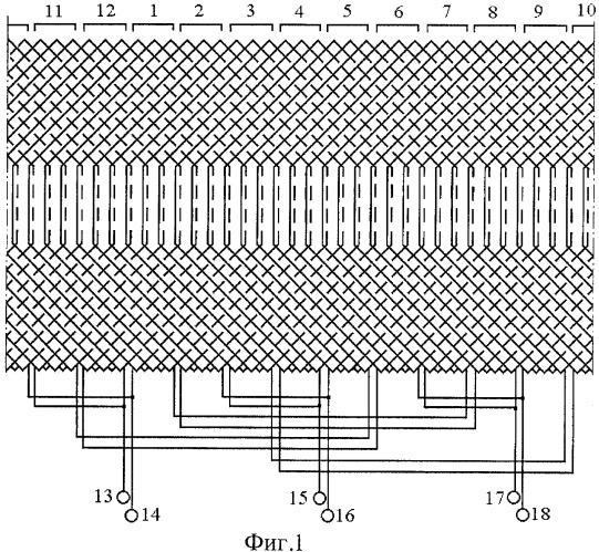Двухполюсная статорная обмотка асинхронного генератора