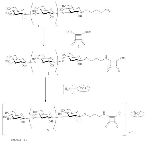 Способ получения конъюгата нона- -(1 3)-глюкозида с бычьим сывороточным альбумином скваратным методом