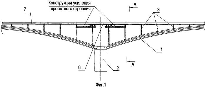Конструкция усиления надопорного участка арочного пролетного строения моста