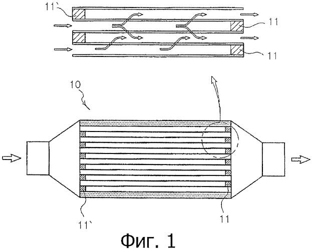 Фильтр из металлических волокон для очистки выхлопного газа, имеющий перепускную часть щелевого типа