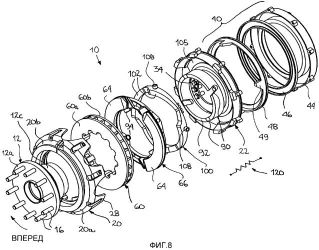 Кольцевой дисковый тормоз и способ увеличения усилия схватывания тормозной колодки