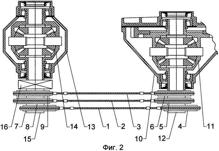 Тросовый привод второго ведущего моста транспортного средства