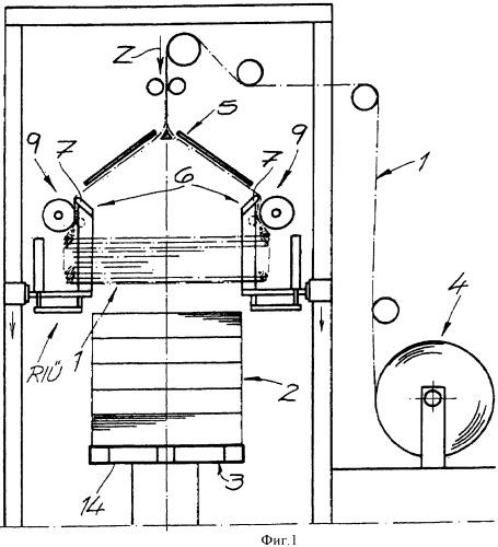 Способ и устройство для надевания рукавной пленки или пленочного чехла на штабель груза