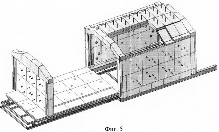 Камерная печь сопротивления из фосфатных бетонов