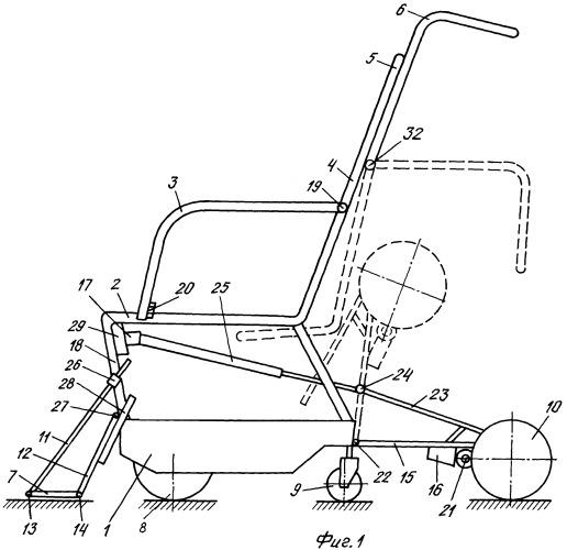 Кресло-коляска для инвалидов и пандус для перемещения коляски для инвалидов по лестничным маршам (варианты)