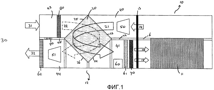 Установка и способ для охлаждения, по существу, замкнутого пространства рециркуляционным воздухом
