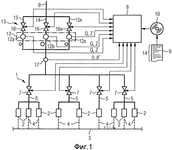 Способ работы секции охлаждения с централизованным определением характеристик клапанов и объекты, соответствующие ему