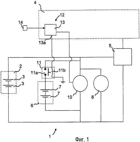 Электрическая система для автотранспортного средства, способ управления стартерным двигателем и разъединителем аккумуляторных батарей в этой электрической системе