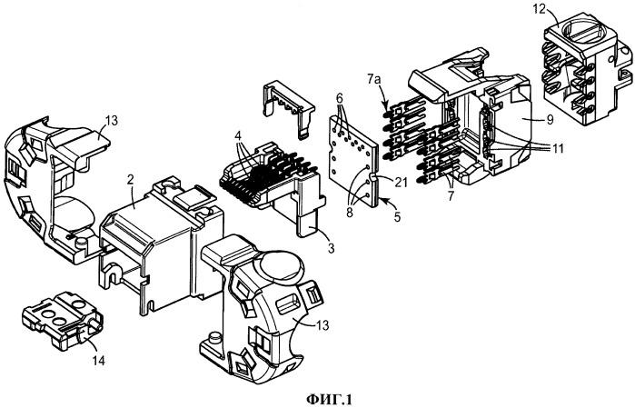 Телекоммуникационный гнездовой разъем с многослойной печатной платой