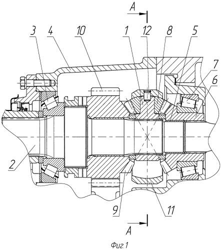 Межосевой дифференциал проходной главной передачи транспортного средства