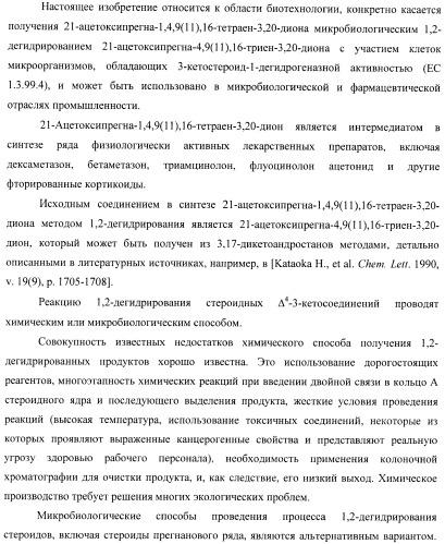 Микробиологический способ получения 21-ацетоксипрегна-1,4,9( 11 ),16-тетраен-3,20-диона из 21-ацетоксипрегна-4,9( 11 ),16-триен-3,20-диона