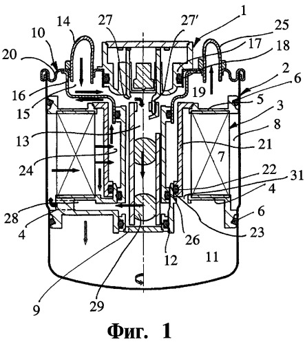 Топливный фильтр двигателя внутреннего сгорания транспортного средства и корпус фильтра