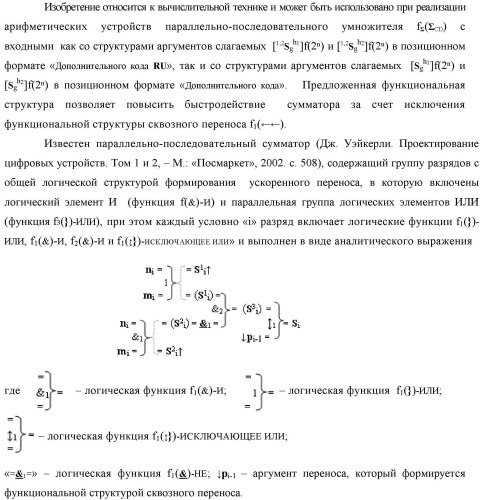 """Функциональная структура сумматора f2( cd) условно """"k"""" разряда параллельно-последовательного умножителя f ( cd), реализующая процедуру """"дешифрирования"""" входных структур аргументов слагаемых [1,2sj h1]f(2n) и [1,2sj h2]f(2n) позиционного формата """"дополнительный код ru"""" посредством применения арифметических аксиом троичной системы счисления f(+1,0,-1) и логического дифференцирования d1/dn   f1(+  -)d/dn аргументов в объединенной их структуре (вариант русской логики)"""