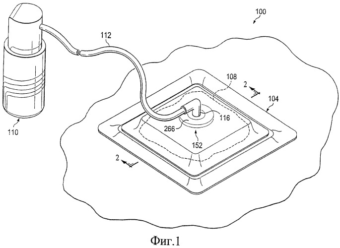 Повязка и способ приложения пониженного давления к участку ткани и сбора и хранения текучей среды от участка ткани