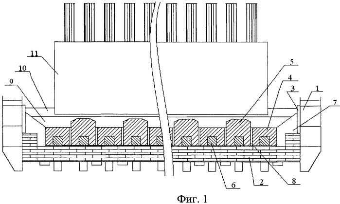 Катодное устройство алюминиевого электролизера с рельефной подиной