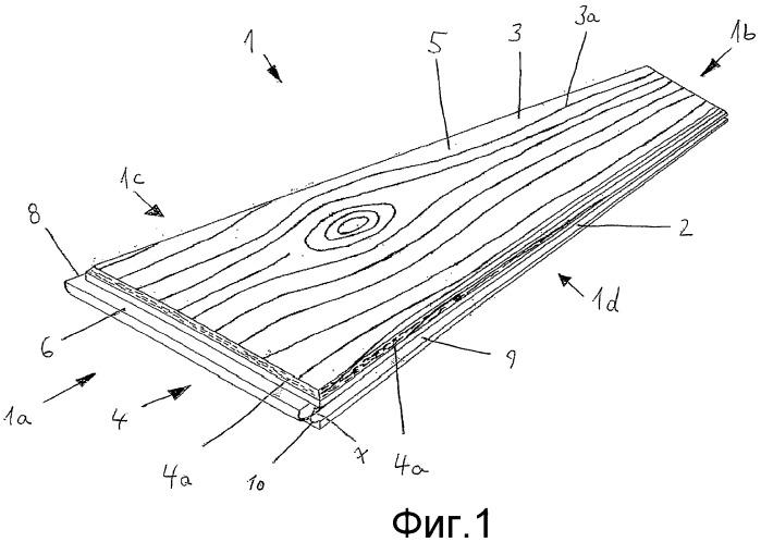 Панель пола из полимерного материала с механическими фиксирующими кромками