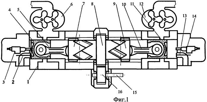 Бесшатунный оппозитный двигатель внутреннего сгорания