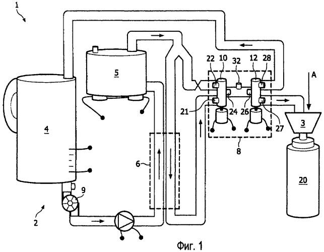 Клапанный узел с улучшенным регулированием температуры и снабженное им устройство для приготовления напитка