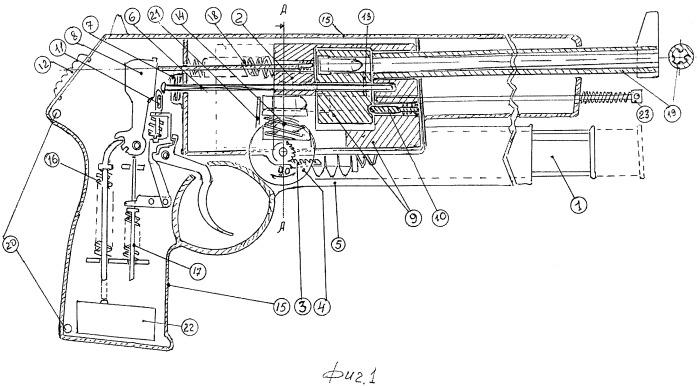 Устройство карабина револьверного автоматического безгильзового с горизонтальным отъемным коробчатым магазином