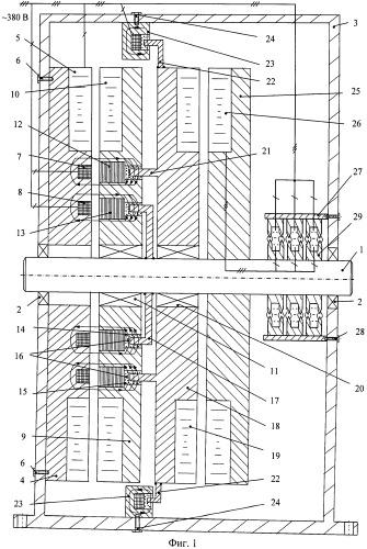 Аксиальный каскадный электрический привод с жидкостным токосъемом