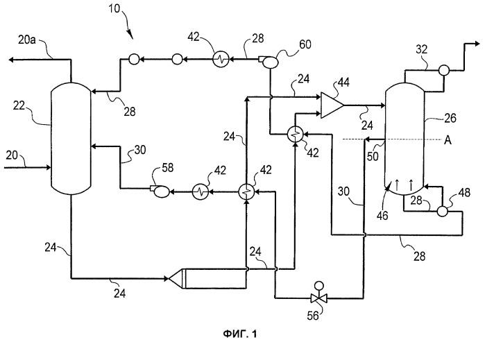 Система и способ удаления кислотного компонента из технологического потока