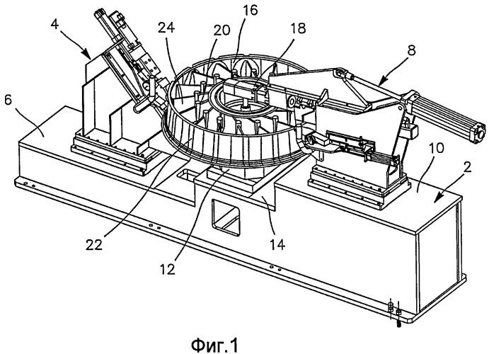 Устройство и способ кругового деформирования круглой детали, в частности, выпускного картера газотурбинного двигателя