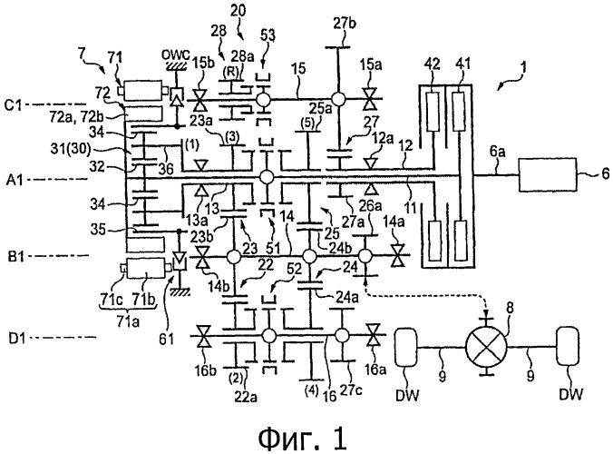 Силовая передача для гибридного транспортного средства