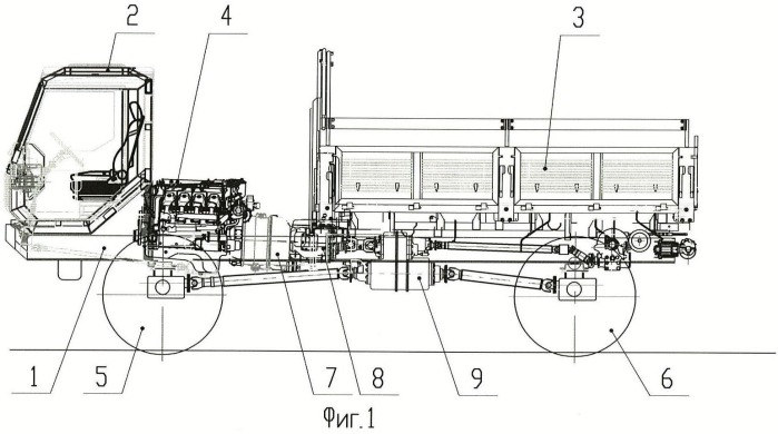Грузовой автомобиль с передними и задними ведущими колесами