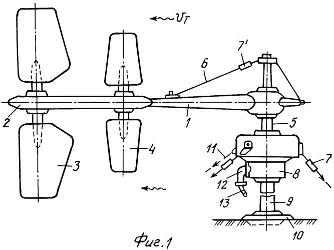 Ветро- и гидроустановка с колеблющимися вертикальными лопастями