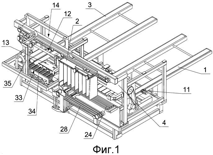 Устройство для разгрузки загруженных стержнеобразными элементами секционных кассет, используемых в табачной промышленности