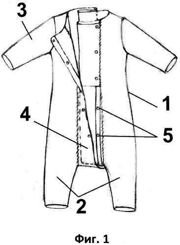 Способ изготовления детского комбинезона, приспособленного для быстрой смены подгузника