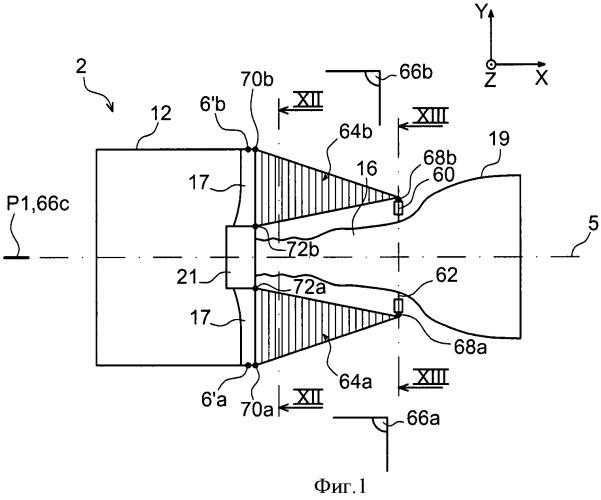 Силовая установка летательного аппарата, содержащая турбореактивный двигатель с усиливающими конструкциями, соединяющими корпус вентилятора с центральным корпусом