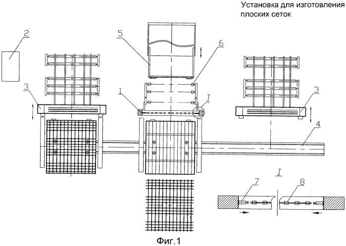 Установка для изготовления плоских сеток