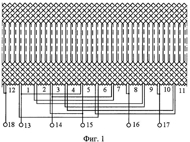 Четырехполюсная статорная обмотка асинхронного генератора