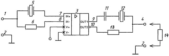 Режекторный активный пьезоэлектрический фильтр