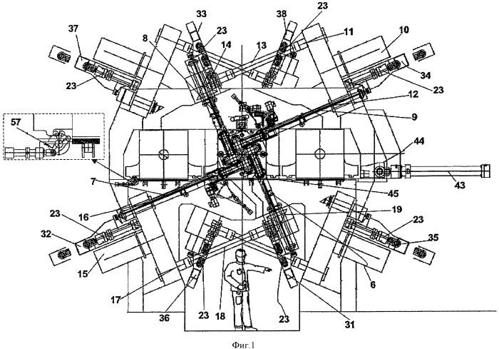 Многоклетьевой прокатный стан раскатного типа для продольной прокатки заготовок стержневой формы, содержащий четырехвалковые клети, и способ замены клетей