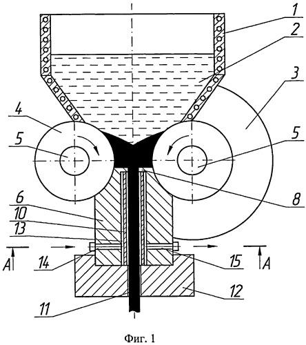 Устройство для непрерывного литья, прокатки и прессования катанки