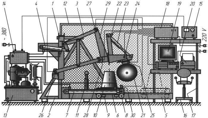 Стенд для испытания предохранительных механизмов почвообрабатывающих орудий и изучения влияния ударных нагрузок на навесные механизмы тракторов