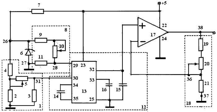 Терморезисторный преобразователь температуры в напряжение