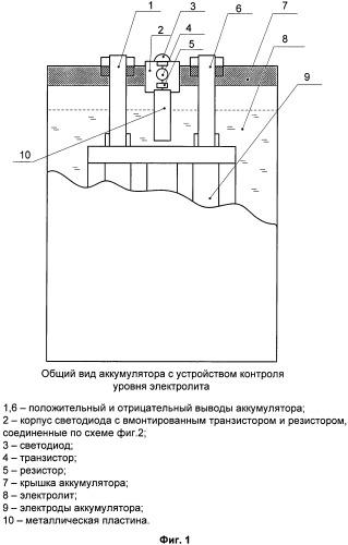 Устройство контроля уровня электролита и заряженности аккумулятора