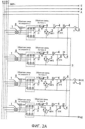 Система реализации изменения частоты и регулирования скорости ротора асинхронно и одновременно с приводом нескольких электродвигателей одним инвертором