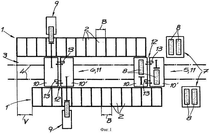 Установка для коксования с двумя параллельно расположенными рядами печных камер