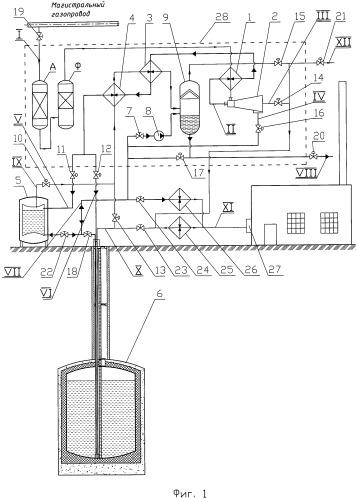 Способ заполнения резервных хранилищ сжиженным природным газом