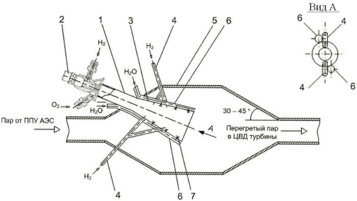 Система сжигания водорода в цикле аэс с регулированием температуры водород-кислородного пара